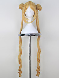 Cosplay Wigs Sailor Moon Sailor Moon Yellow Long Anime Cosplay Wigs 100 CM Heat Resistant Fiber Female