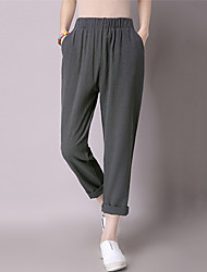 Women's Solid Black / Gray / Green Loose / Harem Nine Pants,Casual Elastic waist Cotton/Linen