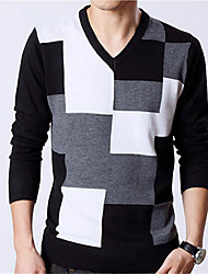 Men's Color Block Pullover,Cotton Long Sleeve