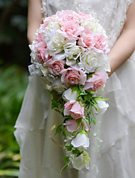 YuXiYing  Elegant  Cascade  Shape  Rose Bridal Wedding Bouquet