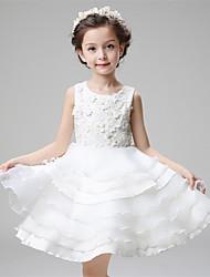 A-line Knee-length Flower Girl Dress - Cotton / Organza / Satin Sleeveless Jewel with
