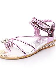 Zapatos de mujer-Tacón Bajo-Comfort / Punta Abierta-Sandalias-Exterior / Casual / Vestido-PU-Morado / Plata / Oro
