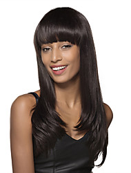 New Hair Trend Long Straight Black Remy Human Hair Capless Wig