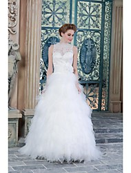 A-line Wedding Dress See-Through Floor-length High Neck Satin with Appliques