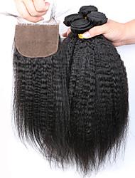 7а SLOVE волосы необработанные человеческие девственные бразильские странный прямые пучки с шелковой база закрытие человек hair5 шт /