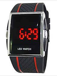 Masculino / Mulheres / Casal Relógio Esportivo Digital LED / Touchscreen PU Banda Preta / Branco / Vermelho marca-
