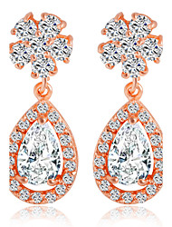 Zircon Crystal Snowflake Drops Earrings Bridal Diamond Hypoallergenic Jewelry