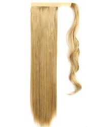 золотой 60см синтетическая высокая температура проволоки парик прямые волосы конский хвост цвет 24