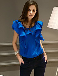Women's Solid Blue / White Shirt,Ruff Collar Sleeveless