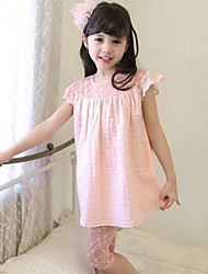 Girl's Black / Pink / White Clothing Set,Solid Cotton / Polyester Summer