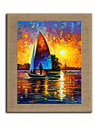 Hand Painted Modern Abstract Sailing Sunrise Oil Painting On Linen Art Pictures For Office Room Decor Wall Paintings