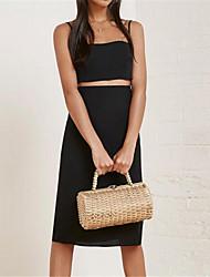 Women's Going out Sexy Set,Solid Strap Sleeveless Black Nylon Medium