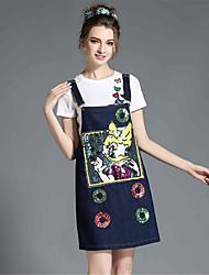 mulheres aofuli além de tamanho de camisa duas peças vestido de lantejoulas conjunto de desenhos animados denim suspender bordado t