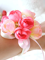 Wedding Flowers Round Roses Wrist Corsages Wedding Party/ Evening Satin Cotton Bead