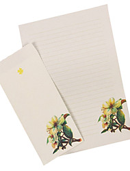 Elegant plant letter set envelope (6 letter +3 envelope, envelope 8.6*17.6CM, letter 17*27CM, random pattern)