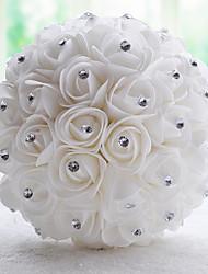 Vintage White/Cream PE Rose Flower Bridal Wedding Bouquet