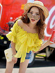 Women's Solid White / Yellow T-shirt,Off Shoulder ½ Length Sleeve