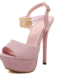 Sandals Spring Summer Fall Club Shoes Synthetic Office & Career Party & Evening Dress Stiletto Heel Sequin Pink Dark Grey