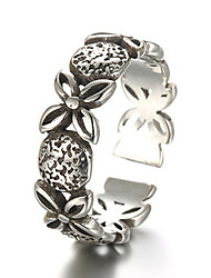 Antique Silver Vintage Style Clover Open Band Midi Ring for Men/Women Jewelry