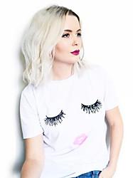 Tee-shirt Aux femmes,Imprimé Décontracté / Quotidien simple / Mignon Eté Manches Courtes Col Arrondi Blanc Coton Moyen