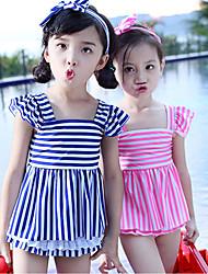 Girl's Sports Striped Swimwear,Polyester Summer Blue / Pink