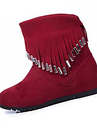 Women's Boots Fall Winter Fashion Boots Fleece Casual Low Heel Others Black Red