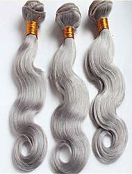 3pcs / lot el 100% brasileño virginal de la trama del cabello humano teje del pelo brasileño pelo gris onda del cuerpo sin procesar