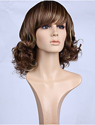 Natural Brown Blonde Ombre Color Popular Curly Synthetic Wig For Woman