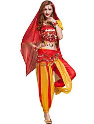 Dança do Ventre Roupa Mulheres Treino Chifon Lantejoulas 6 Peças Manga Curta NaturalSaia / Braceletes / Tiaras / Top / Xale de Dança do