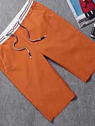 Men's Solid Shorts,Cotton Blue / Orange / White
