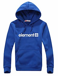 Men's Casual Daily Sports Simple Letter Print Blue Long Sleeve Cotton Fall  Winter Hooded Sweater Pullover