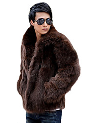Men's Solid Casual / Plus Sizes Coat,Faux Fur Long Sleeve-Black / Brown / White