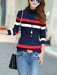 Normal Pullover Femme Décontracté / Quotidien Mignon,Couleur Pleine Bleu / Marron Col Roulé Manches Longues Coton Automne Moyen