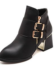 Women's Shoes Leatherette Fall / Winter Fashion Boots / Pointed Toe Boots Office &  Casual Chunky Heel Buckle / Zipper