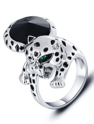 Fashion Animal Leopard Alloy Unisex Ring Trendy Jewelry Rhodium Plated Rings For Party