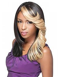 20inch Capless Women Long Ombre Black Brown Curly Synthetic Wigs with Free Hair Net