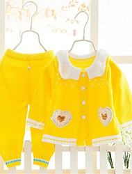Girl's Casual/Daily Solid Sweater & Cardigan,Polyester Winter / Spring / Fall Blue / Pink / Red / Yellow