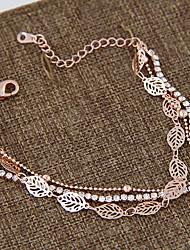Women's European Style Fashion Sweet Shiny Rhinestone Leaf Multilayer Bracelet