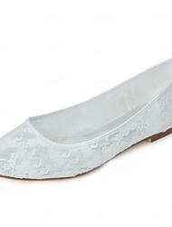 Белый-Женский-Свадьба Для вечеринки / ужина Для праздника-Стретч-сатин-На плоской подошве-Удобная обувь-На плокой подошве