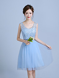 Knee-length Lace / Satin / Tulle Bridesmaid Dress - A-line Straps with Lace