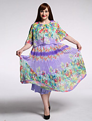 Women's Beach / Plus Size Boho Swing Dress,Print Round Neck Maxi Short Sleeve Green Cotton / Polyester Summer