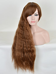 Long Natural Wave Synthetic Wig Cheap Heat Resistant Brown Color Women Party Synthetic Wigs