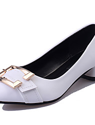 Women's Shoes Leatherette Spring / Summer / Fall Heels / Pointed Toe Heels Office & Career / Casual Chunky HeelBowknot