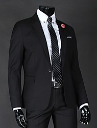 Suits Slim Fit Notch Single Breasted One-button Cotton / Cotton Blend Solid 2 Pieces Straight Flapped