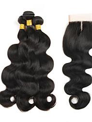 Trame cheveux avec fermeture Cheveux Péruviens Ondulation naturelle 4 Pièces tissages de cheveux