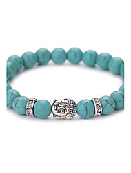 New Arrival Nature Turquoise Buddha Head Bead Bracelet #YMGS1013