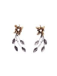 European Luxury Gem Geometric Earrrings Vintage Pearl Rose Drop Earrings for Women Fashion Jewelry Best Gift