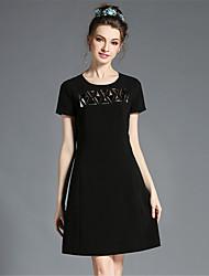 mulheres aofuli plus size elegante de metal sólido 3D Pacet uma linha do joelho vestido de comprimento