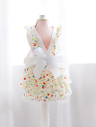 Cat / Dog Dress White Summer / Spring/Fall Bowknot Fashion-Petstyle, Dog Clothes / Dog Clothing