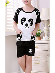 Boy's Casual/Daily Animal Print Clothing Set,Cotton Summer Black